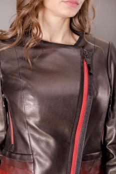 Куртка кожаная на косой молнии