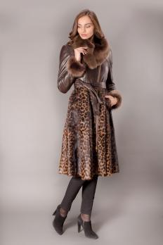 Дубленка с леопардовым принтом
