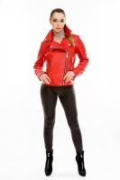 Красная короткая кожаная куртка на косой молнии_0