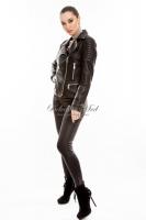 Короткая кожаная куртка на косой молнии _1