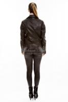 Короткая кожаная куртка на косой молнии _2