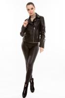 Короткая кожаная куртка на двойной косой молнии_0