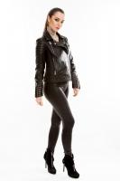Короткая кожаная куртка на двойной косой молнии_1