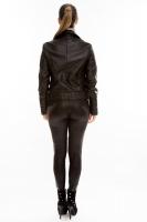 Короткая кожаная куртка на двойной косой молнии_2