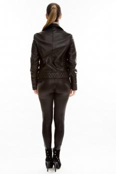 Короткая кожаная куртка на двойной косой молнии