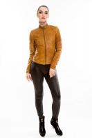 Короткая кожаная куртка на молнии_0