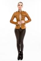 Короткая кожаная куртка на пуговицах_0
