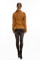 Короткая кожаная куртка на пуговицах_2