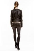 Короткая кожаная куртка на молнии_2