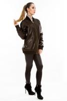 Кожаная куртка на молнии свободного кроя_1