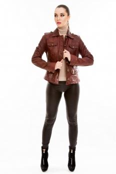 Короткая классическая кожаная куртка