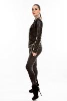 Короткая кожаная куртка на косой молнии без воротника_1
