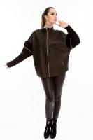 Кожаная куртка на молнии прямого кроя_0