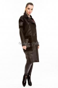Кожаное пальто на пуговицах