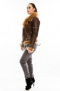 Кожаная куртка на косой молнии