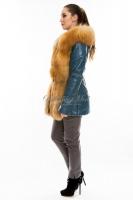 Куртка кожаная с отделкой переда и капюшоном из меха лисы_1