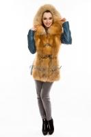 Куртка кожаная с отделкой переда и капюшоном из меха лисы_2