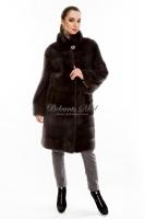 Норковое пальто с воротником-стойкой_0